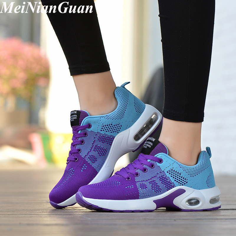 Large Sizes Women's Sports Shoes 2020 Breathable Womens Sneakers Air Cushion Sport Shoes For Women Fly Weaving Running Shoes B9