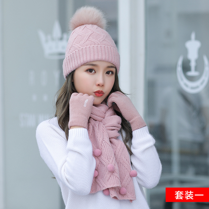 Winter Hat And Scarf Set For Women Thick Warm Beanies Hat Scarf Female For Girls Pom Pom Beain Hats Solid Color
