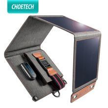 CHOETECH Solar şarj cihazı 14W USB katlanabilir telefon seyahat şarj cihazı ile güneş enerjisi güneş paneli su geçirmez iPhone X/8/7/6s/artı