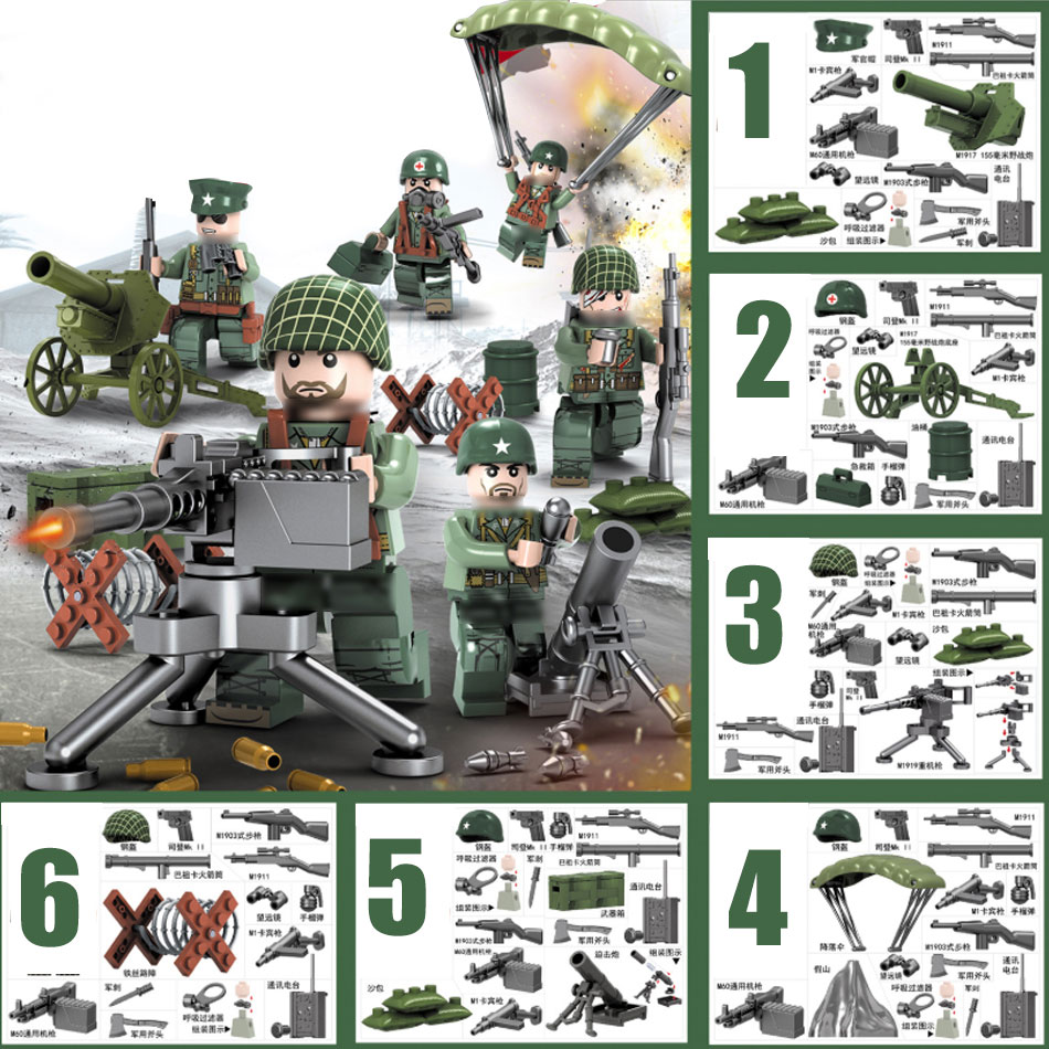 Pacific World War 2 Battlegrounds USA WW2 Army Soldier Figures Military Weapon Building Blocks Brick Compatible Legoed Tank Toys
