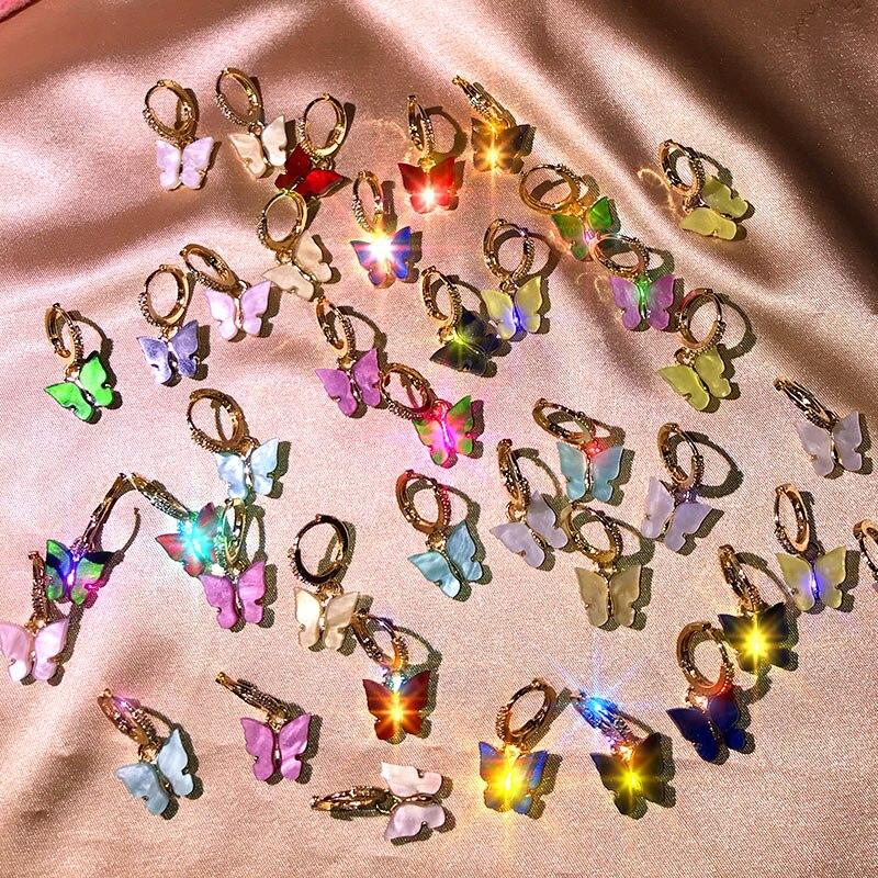 JJFOUCS Fashion Multicolor CZ Butterfly Drop Earrings Gold Color Resin Cute Animals Dangle Earrings Women Statement Jewelry