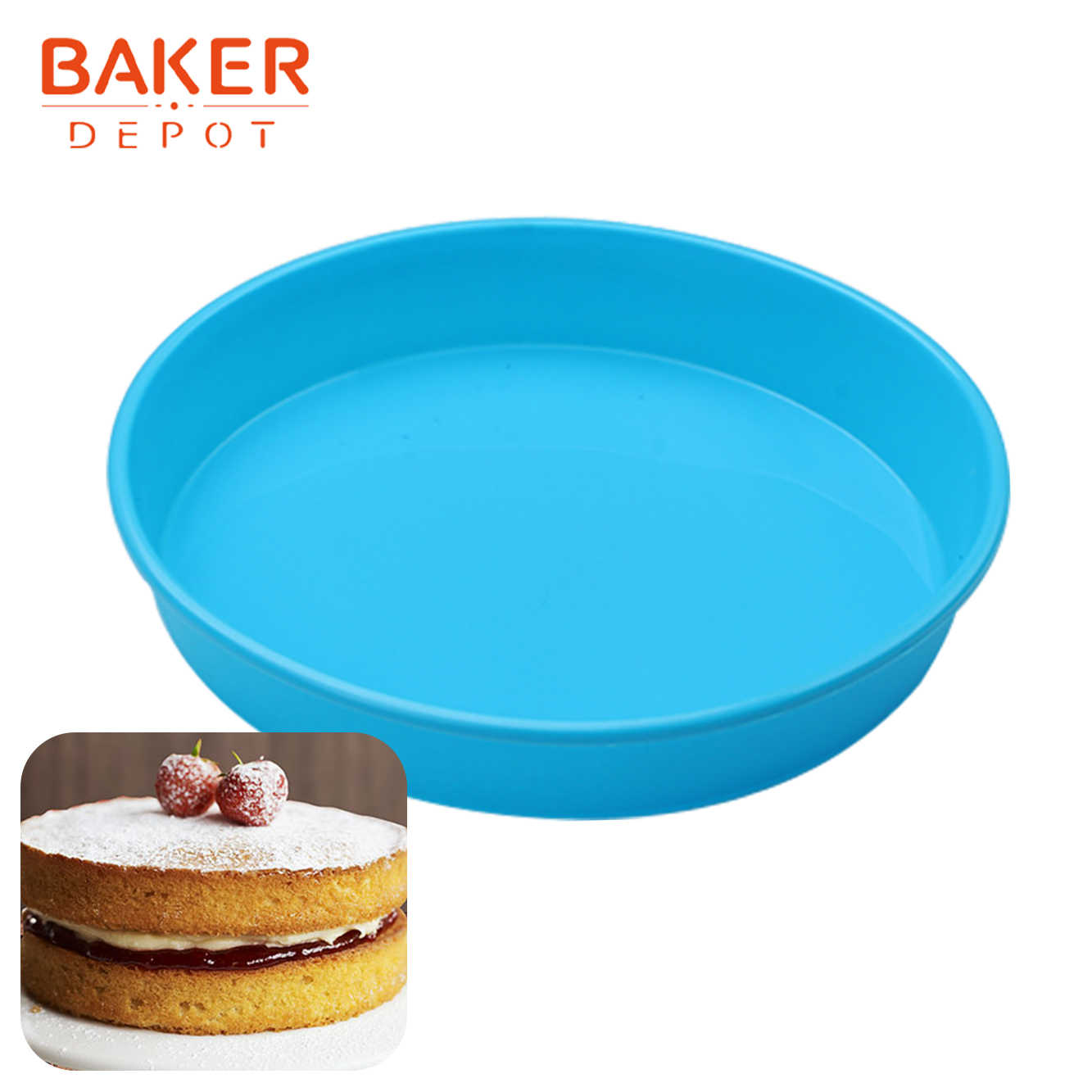 Blue, 15 x 6H Silicone Round Mold Fulted Pan Cake Nonstick Reusable Muffin Cupcake Molds for Baking Pound Cake Bread Grade Silicone Cake Mold cm