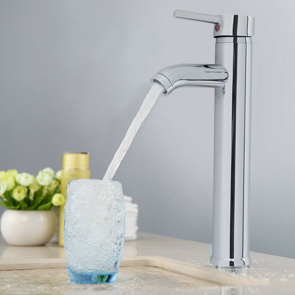 Kitchen Sink Taps Hot And Cold Faucets Stainless Steel Modern Bathroom Sink Faucet Mixer Tap Column Chrome Lever 30cm