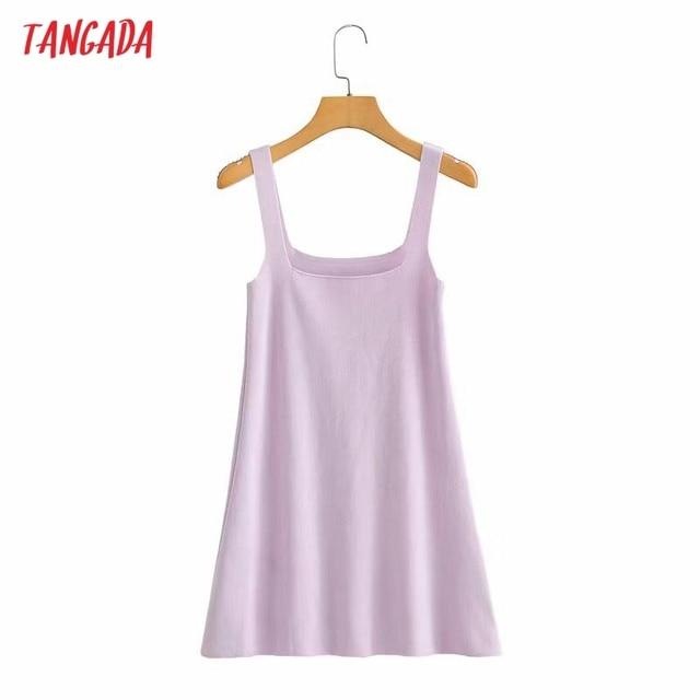 Tangada Fashion Women Solid Elegant Candy Color Knit Dress Sleeveless 2021 Summer Ladies Dress AI57 4