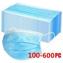 10/600 pces máscaras faciais descartáveis industrial 3ply orelha loop capa de boca reutilizável máscaras de tecido capa facial mascarilla acampamento