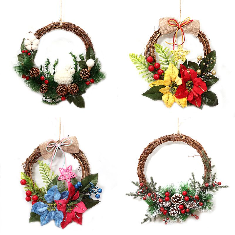 """8 """"Рождественские натуральные гирлянды передние венки дверные, искусственные розы Висячие венки с лентой для дома вечерние уличные Windo"""