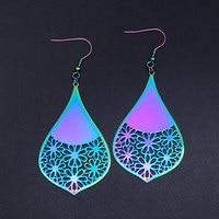 Super Unique arc-en-ciel couleur en acier inoxydable mode fleur géométrique goutte d'eau boucle d'oreille pour les femmes prix usine cadeau en gros