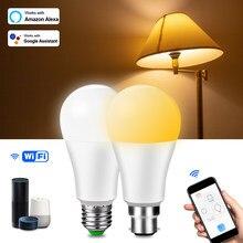 Bombillas inteligentes con WiFi, bombilla LED E27 B22 de 15W, lámpara LED regulable con aplicación de voz, luz nocturna de Control para el hogar, funciona con Alexa y Google Home