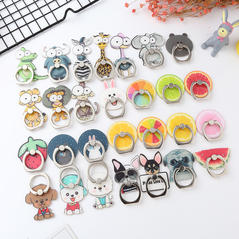 Cartoon Fruit Finger Ring Holder Mobile phone Desk Bracket Expanding Stand Grip Phone Back Accessories For iphone Huawei Samsung
