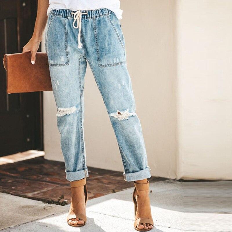 2020 Harem Pants Vintage Mid Waist Jeans Women Boyfriend Ripped Jeans Summer Casual Mom Jeans Cowboy Denim Pants Ladies Jeans