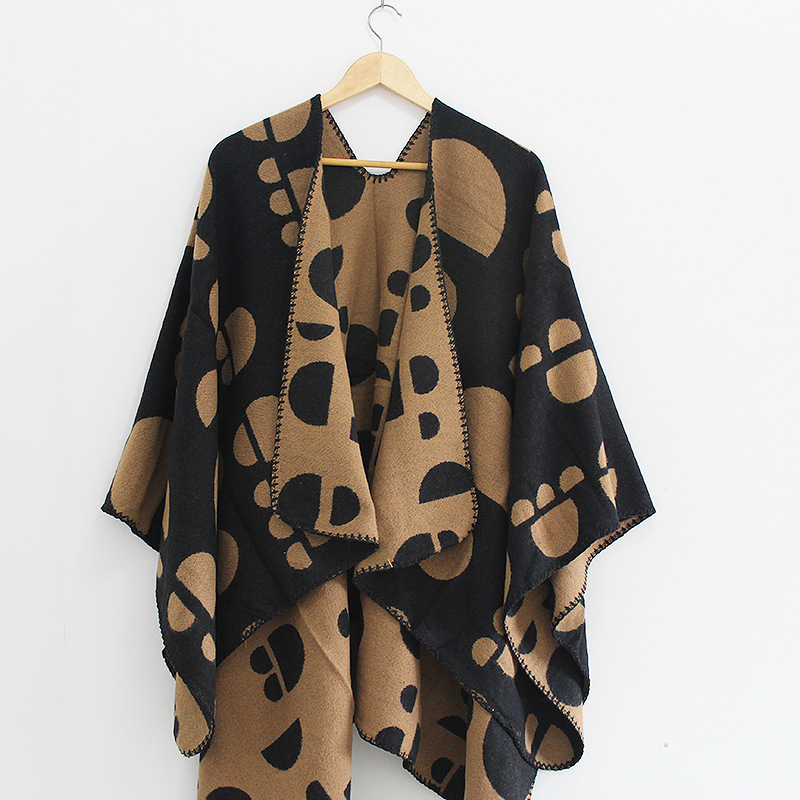 Winter Poncho Shawl For Women Open Front Grid Cardigan Wrap Shawl Coat for Women Girls Pashmina Scarf Female Ruana Animal Print in Women 39 s Scarves from Apparel Accessories