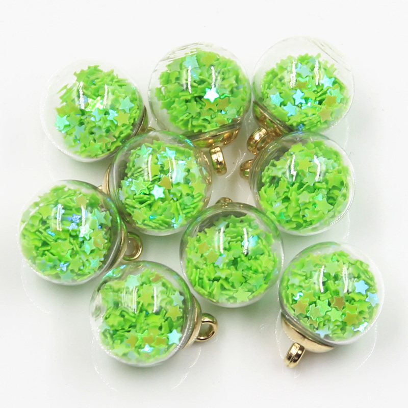 20pcs Charms Star Sequins Transparent Glass Ball 15mm Pendants Crafts Making Findings Handmade Jewelry DIY for Earrings Necklace 2