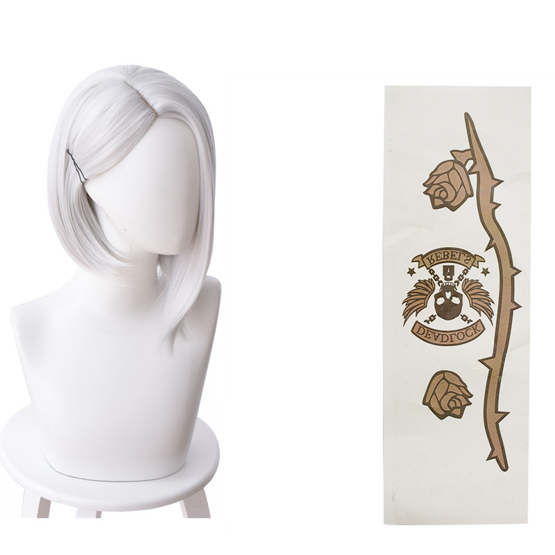 Game OW Ashe wig hair With Tattoo sticker Ashe Cosplay White Wigs costume Accessories Halloween Carnival Prop