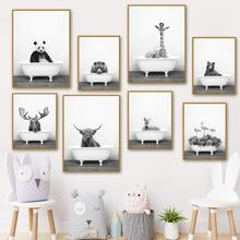 Elephant Panda Giraffe Flamingos Bathroom Toilet Canvas Painting Nordic Animal Bathtub Poster Black And White Prints Home Decor