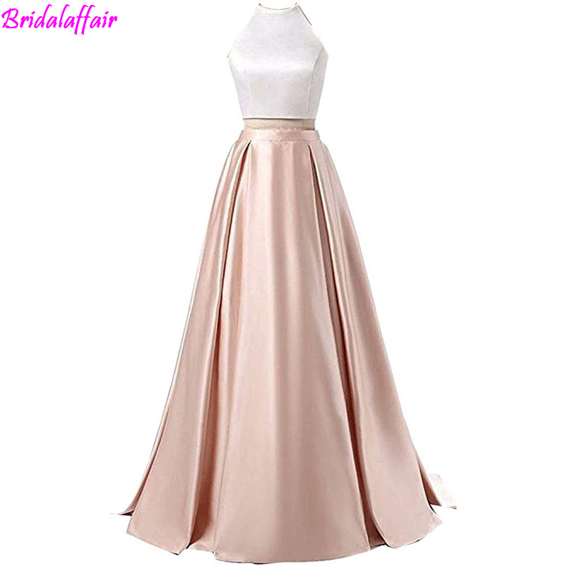 Formal Halter Neck Open Back Evening Gown Long Two Pieces Prom Dress Party with Pocket Vestido De Festa sukienka wieczorowa