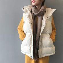 Autumn and Winter Women Cotton  Warm Vest Solid Color Loose Vest Korean Style Sleeveless Short Jacket Jacket 2021 Fashion