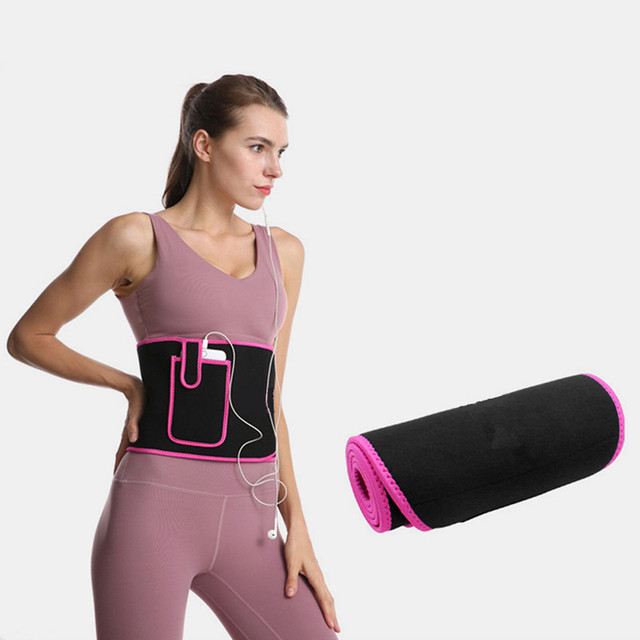 Adjustable Lumbar Support Color Warm Waistband Sweat Waistband Belt Thermal Fitness Sports Protection Band With Pocket
