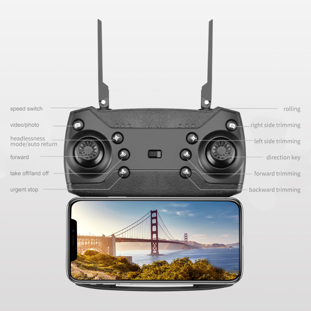 2021 New Quadcopter E525 WIFI FPV Drone With Wide Angle HD 4K 1080P Camera Height Hold RC Foldable Quadcopter Dron Gift Toy 5