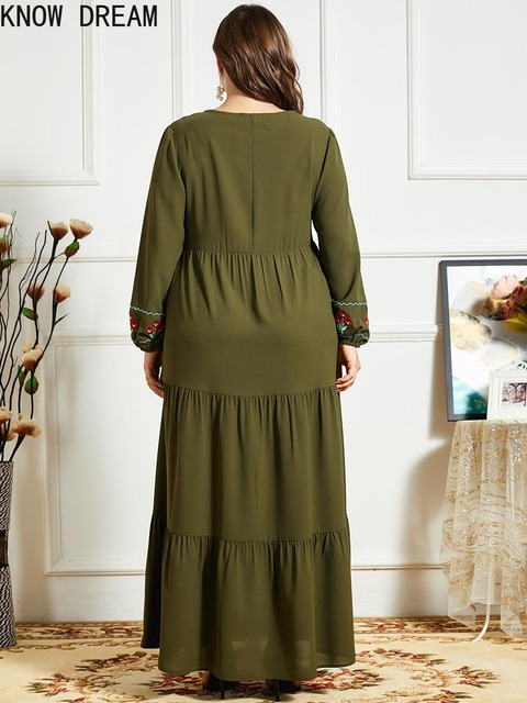KNOW DREAM Women Fashion Comfortable Blue Embroidered Long Sleeve Multilayer Fold Army Green Dress Arab Robe 4