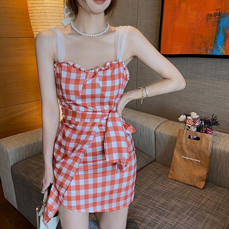 Women Summer Dress Female Vestidos Casual Backless Boho Dresses 2021 Plaid Print Sleeveless Beach Wear Spaghetti