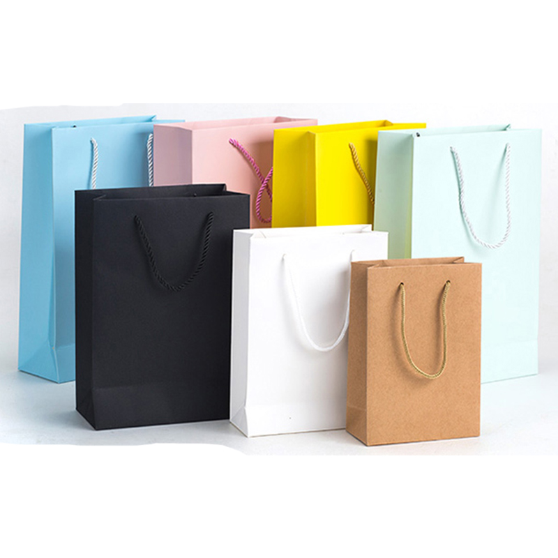 10 Pcs  Custom Logo Printed Thick Grossy White Paper Bag 250grams Cardboard Paper Shopping Bags With String