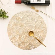 4/6pcs Ginkgo Biloba Placemat New Style PVC Decorative Dining Table Heat Insulation Pad Stylish Round Heat Insulation Placemat