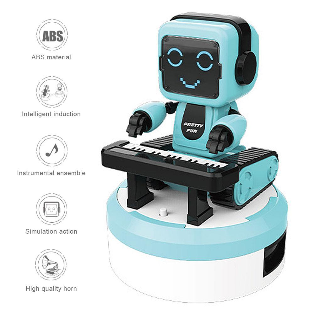 LED Music Induction Robot Toys Electic Singing Interactive Mini Cello Piano Saxophone Robot Pets Toy For Children Gift