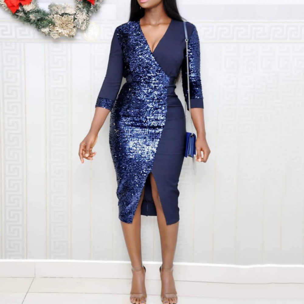 African Women Party Night Club Wear Sexy Sequins Dress Sparkly Bodycon High Waist V Neck Ladies Autumn 2019 Glitter Midi Dresses