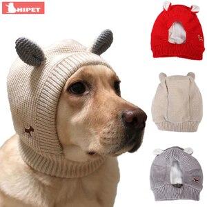 Зимние теплые шапки для собак, милая шапка для животных с кроличьими ушками для средних и больших собак, осенняя ветрозащитная вязаная креа...