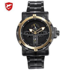 Greenland Shark Sport Watch Men Luxury Brand Golden Bezel Date Army Military Watches Clock Steel Quartz Relogio Masculino /SH427