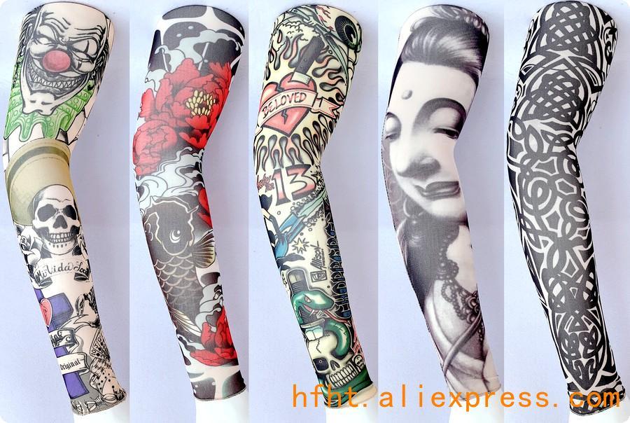 Clown Skull Tattoo Sleeve ((Seamed)), Flower Geometric Pattern Removable Arm Warmers, Length 47CM, HT125-129