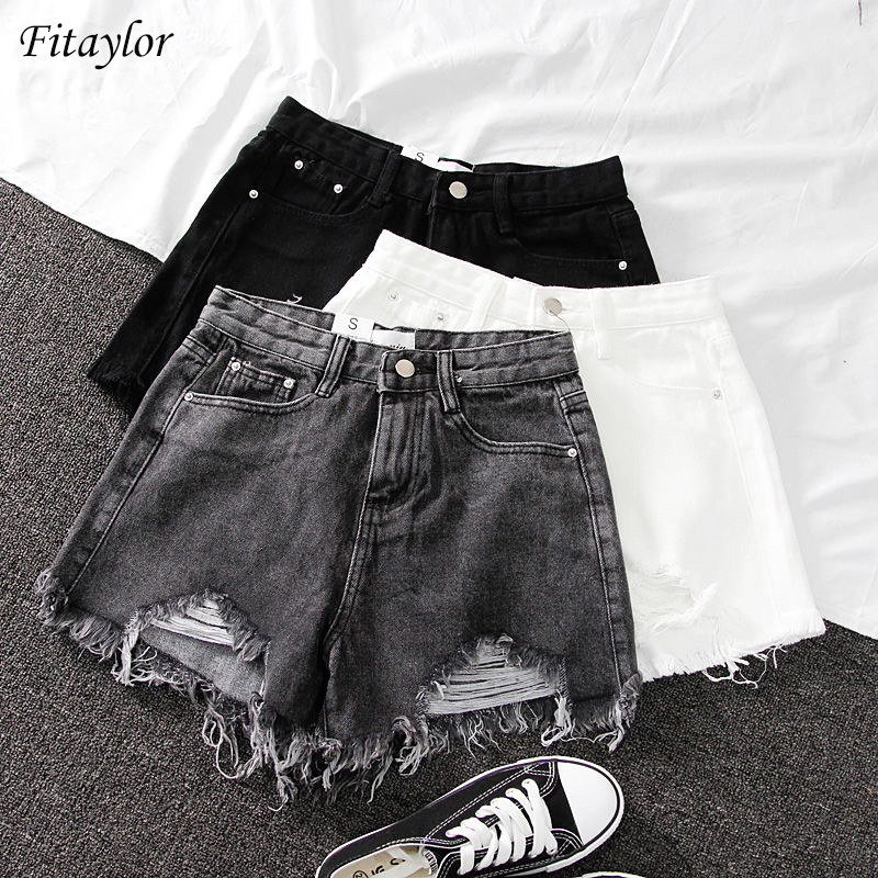 Fitaylor 2020 New Summer Women Wide Leg Hole Black Denim Shorts Casual Female Streetwear Loose Solid Color White Jeans Shorts 1