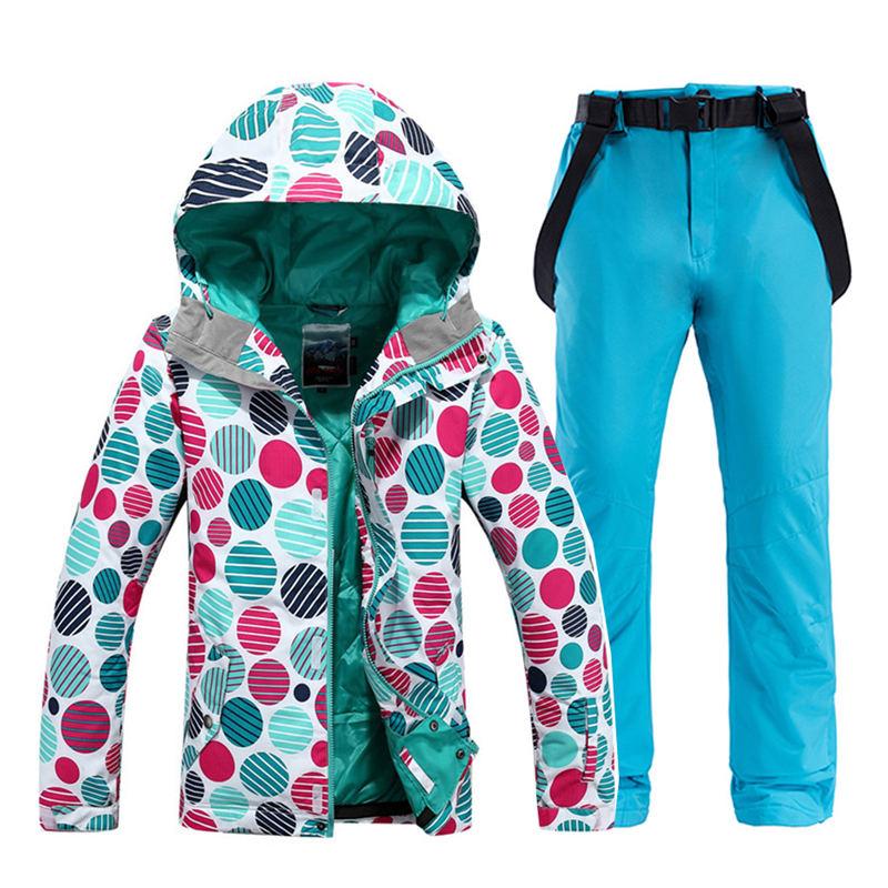 Women's Snow Wear Female Snowboarding Clothing Waterproof Windproof Ski Suit Jacket And Bib Snow Pants Outdoor Sports Costume