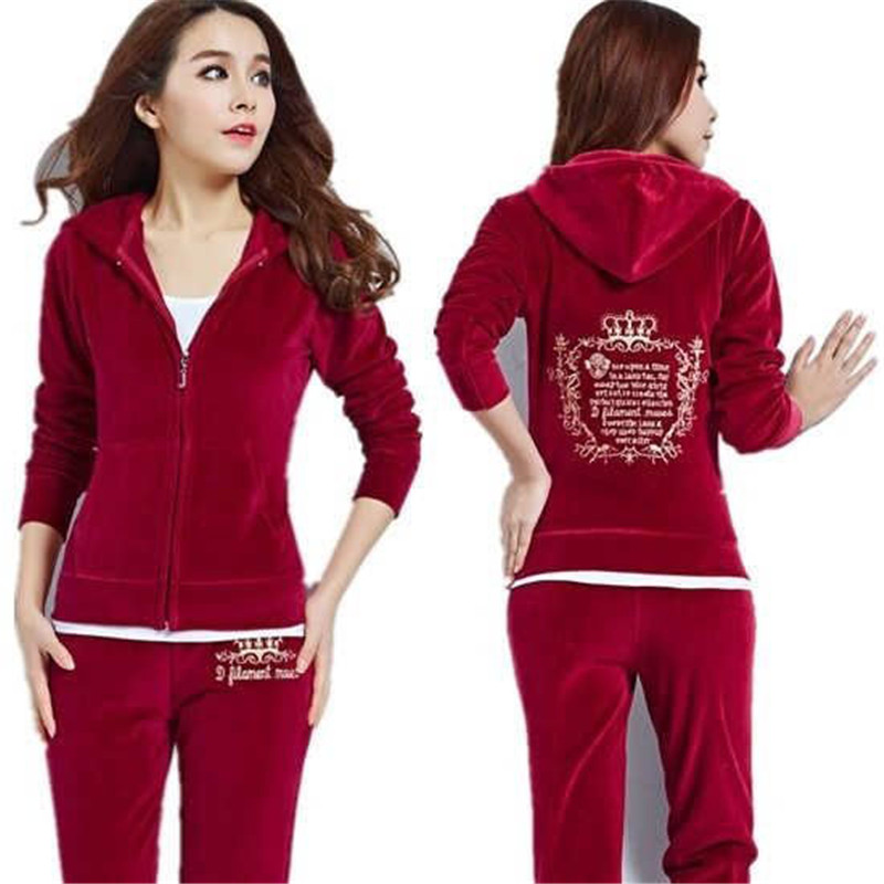 Autumn 2019 Women's2 Piece Set Women Hoodies Track Suit And Pants Velvet Fabric Tracksuits Velour Slim Sporting Suits Red