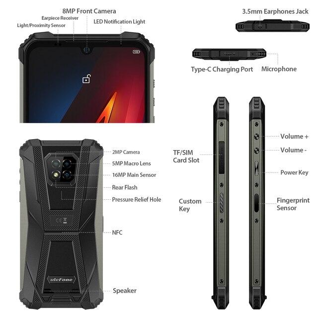 Ulefone Armor 8  Rugged Mobile Phone NFC Android 10 Helio P60 4GB+64GB 16MP Triple Camera Octa-core  6.1'' Waterproof Smartphone 4