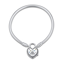 Original 925 Sterling Silver Bracelets Fantasyland Castle Heart Bracelet Bangle for Women Fit Bead Charm DIY Europe Jewelry цена и фото