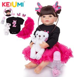 KEIUMI 22 Inch Realistic Silicone Reborn Baby Dolls 57 cm Full Silicone Body Bebe Doll Toy Children Day Gifts Bed Time Playmates