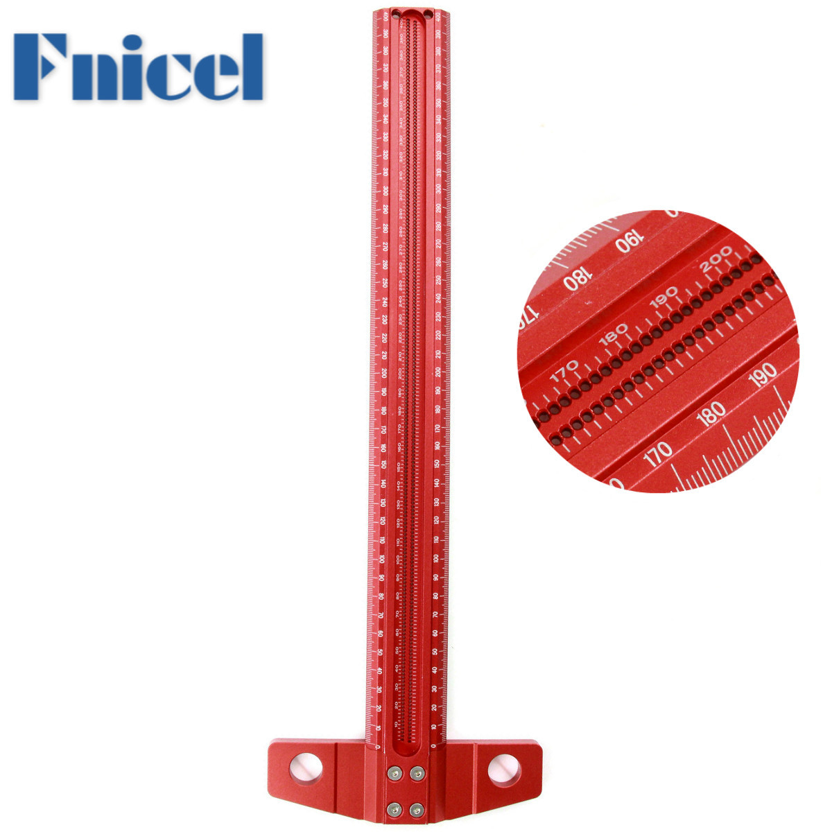 Precision Marking T-Ruler Aluminum Alloy Woodworking Scribe Marking Gauge Deluxe Crossed-out Hole Scribing Ruler Measuring Tools
