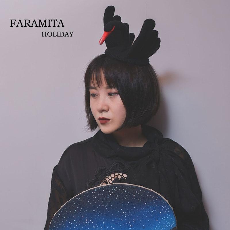 Faramita Holiday Black Swan Women Girls Kids 100% Handmade Wool Hair Clip Hairpin Hair Accessories Vintage Retro Headwear Gothic