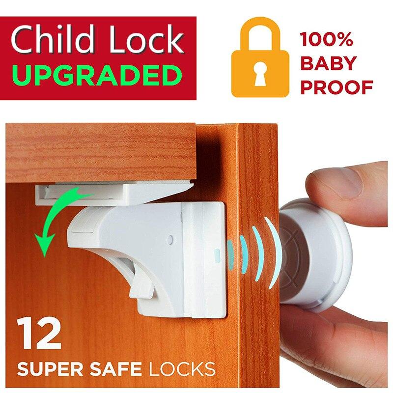 Drawer Lock Magnet Child  Kids Safety Lock Baby Protections Cabinet  Lock Door Children Locker Security Blockers From Children