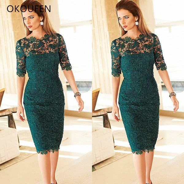Short Lace Mother Of The Bride Dresses For Wedding Party Half Sleeves 2020 Sheath Formal Hunter Green Women Knee Length Madrinha