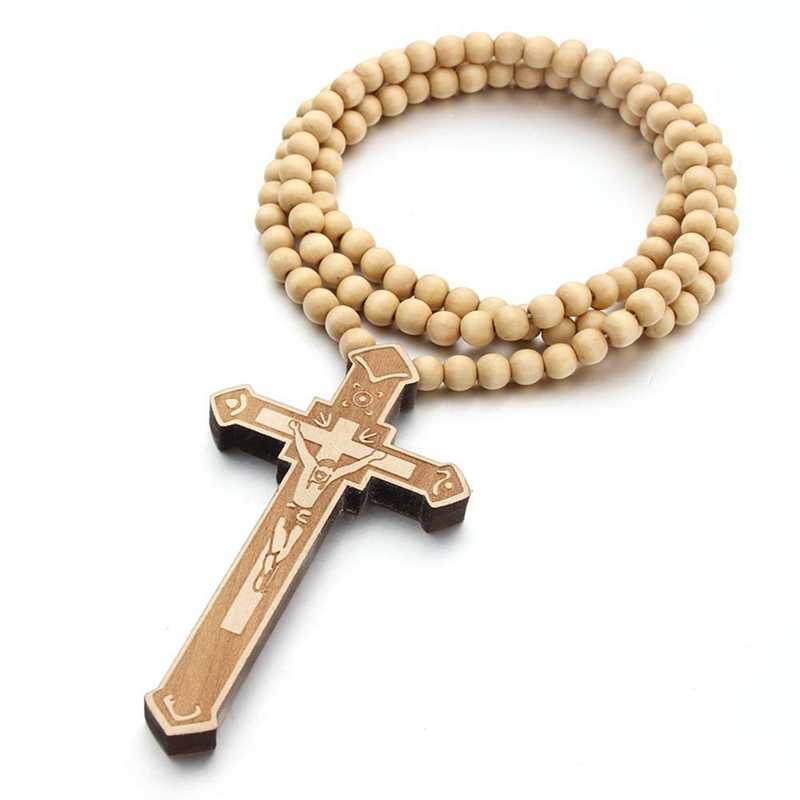 """36"""" Long Rosary Necklace Large Wood Jesus Christ Cross Pendant With Wooden Beads Sweater Chain Male Collier Statement Jewelry"""