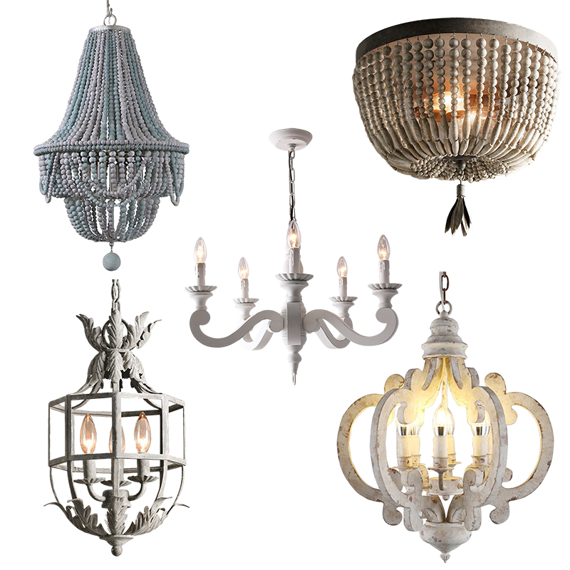 Aged White Wood Chandelier 6 Lights