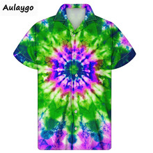 цена на Beach Shirts 2020 Summer Fashion Cuban Shirt For Men Big And Tall Tie Dye Printed Short Sleeve Button Down Streetwear Koszula