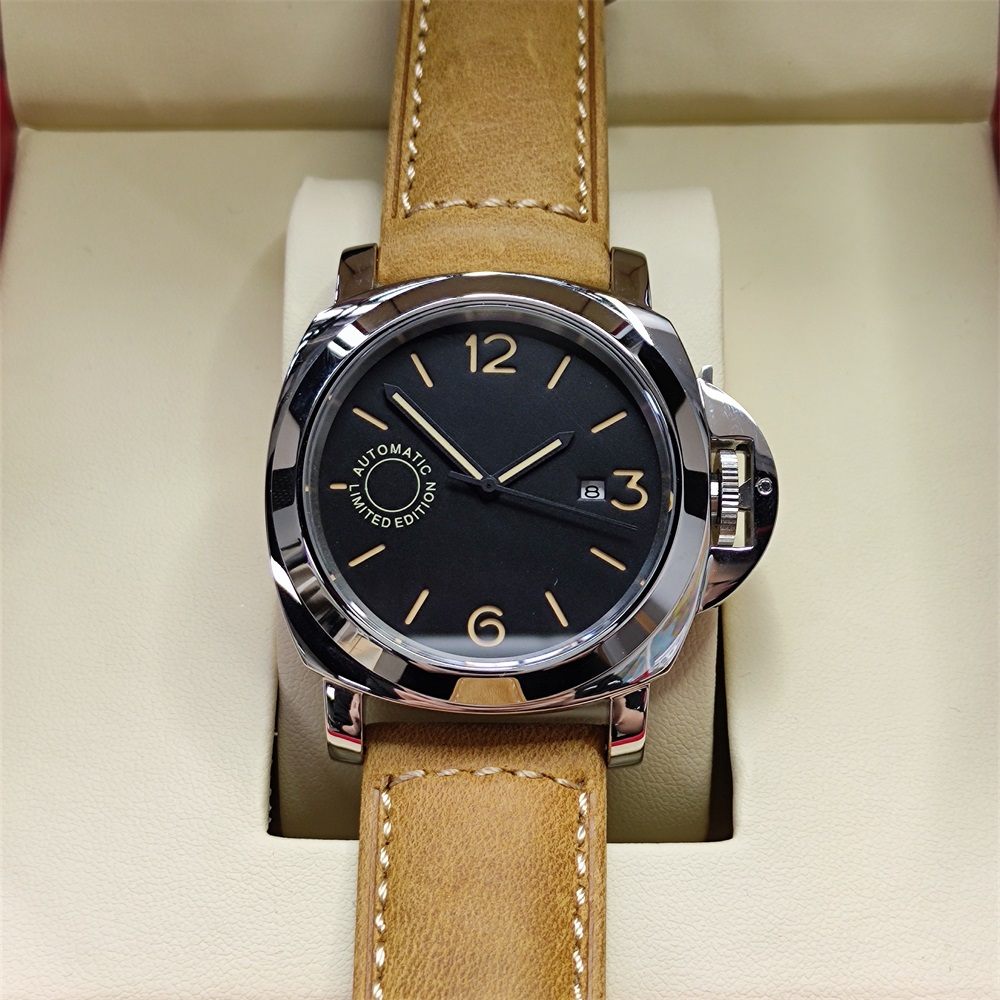 44mm Watch Men Seagull Automatic Mechanical Stainless Steel Luminous sterile dial Leather Strap Date Watches P11