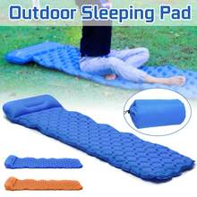 Inflatable Sleeping Pad Camping Mat with Pillow Portable Outdoor Nylon Ultralight Lightweight Cushion Mattress Cushion Sofa(China)