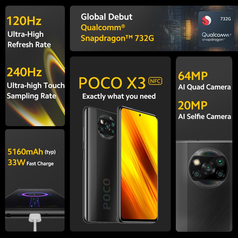 [World Premiere Flash Sale In Stock] POCO X3 NFC Global Version Snapdragon 732G Xiaomi Smartphone 64MP Camera 5160mAh 33W Charge 2