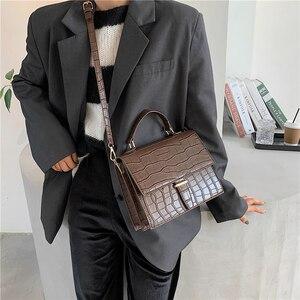 Image 4 - Burminsa Korean Style Women Handbags Large Capacity Female Shoulder Bags Crocodile Pattern PU Ladies Messenger Bags Winter 2020