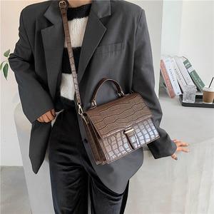 Image 4 - Burminsa Style coréen femmes sacs à main grande capacité femme sacs à bandoulière Crocodile modèle PU dames sacs de messager hiver 2020