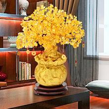 Crystal Money Tree Bonsai Feng Shui Wealth Lucky Tree Housewarming Bonsai w/ Coin & Base for Home Office Decor Ornaments